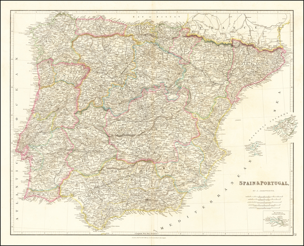 90-Spain and Portugal Map By John Arrowsmith