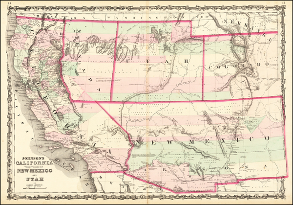 46-Southwest, Arizona, Utah, Nevada, New Mexico, Rocky Mountains, Utah and California Map By Alvin