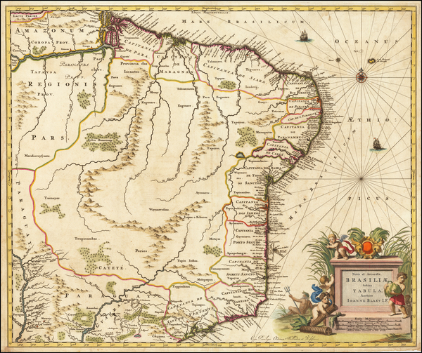 72-Brazil Map By Willem Janszoon Blaeu