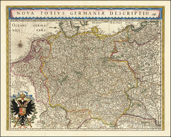 37-Netherlands, Germany and Poland Map By Willem Janszoon Blaeu