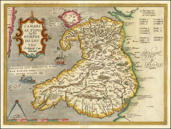 40-Wales Map By Abraham Ortelius