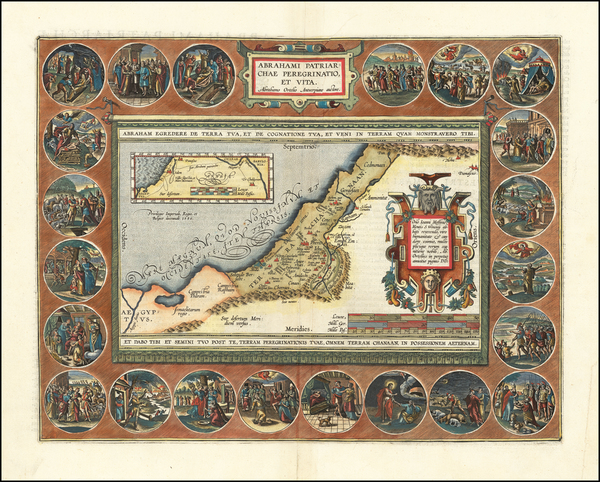 36-Holy Land Map By Abraham Ortelius