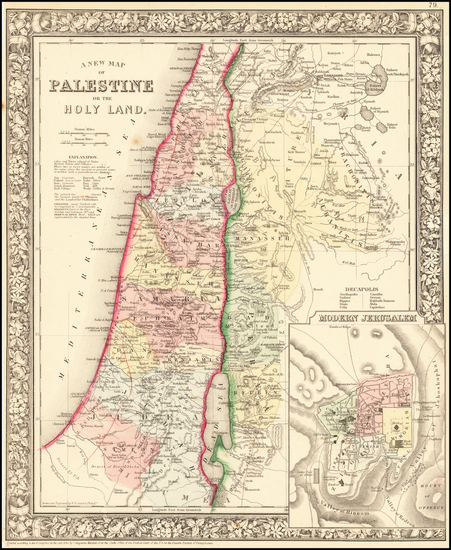 73-Holy Land Map By Samuel Augustus Mitchell Jr.
