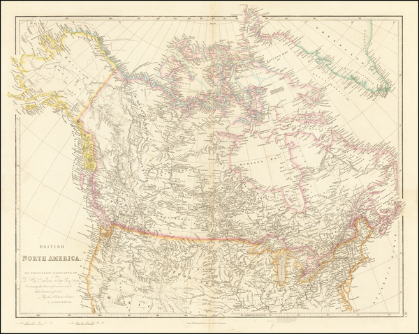 36-Plains, Rocky Mountains, Alaska and Canada Map By John Arrowsmith