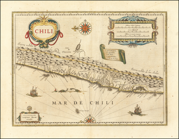 56-Chile Map By Willem Janszoon Blaeu