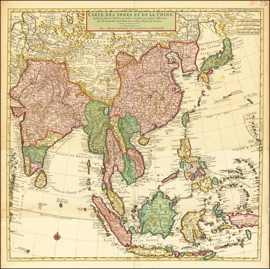 19-China, India, Southeast Asia, Philippines and Indonesia Map By Johannes Covens  &  Cornelis