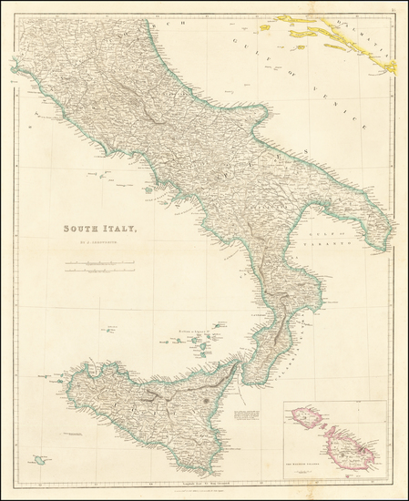 67-Southern Italy and Sicily Map By John Arrowsmith