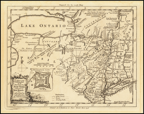 76-Connecticut, New York State, Mid-Atlantic, New Jersey and Pennsylvania Map By London Magazine