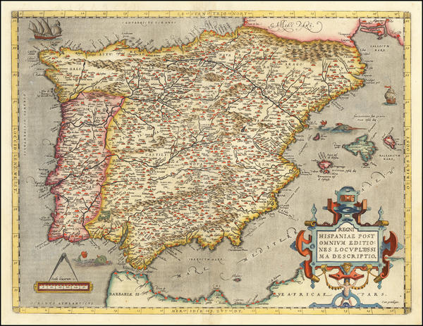 5-Spain and Portugal Map By Abraham Ortelius