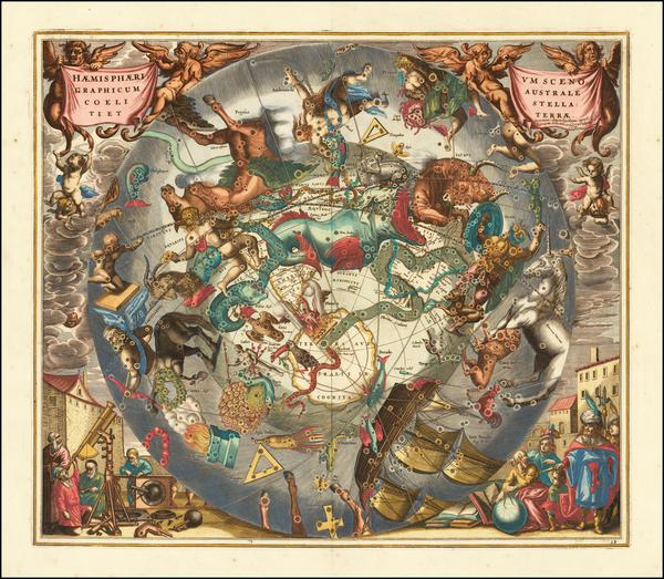 19-Eastern Hemisphere, Polar Maps and Celestial Maps Map By Andreas Cellarius
