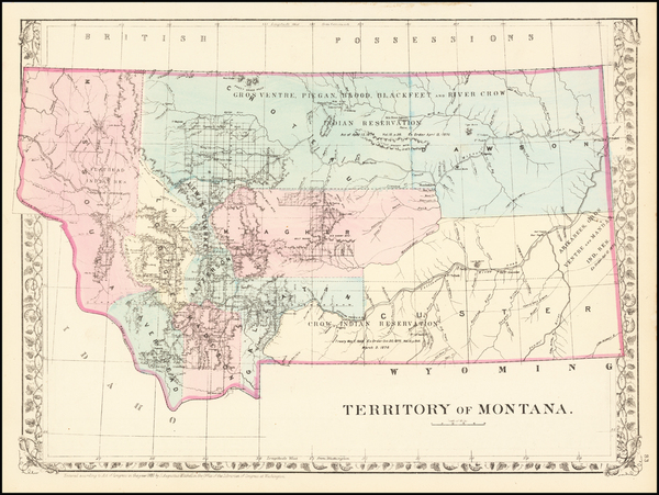 11-Rocky Mountains and Montana Map By Samuel Augustus Mitchell Jr.
