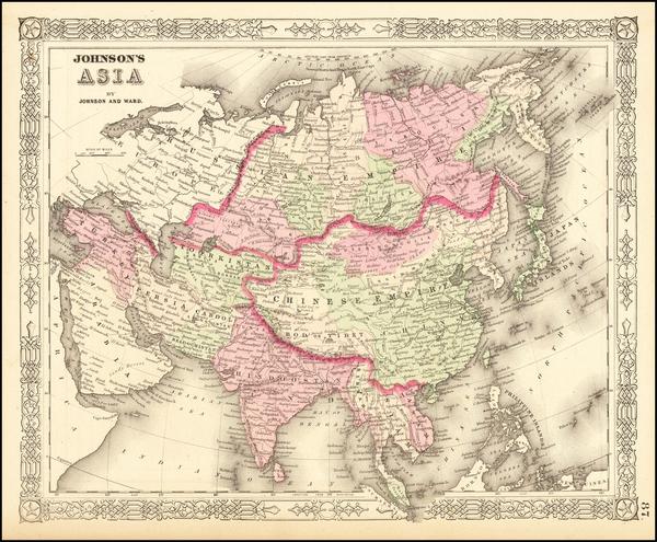 96-Asia Map By Benjamin P Ward / Alvin Jewett Johnson
