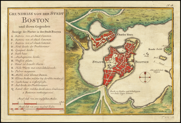13-New England, Massachusetts and Boston Map By Jacques Nicolas Bellin