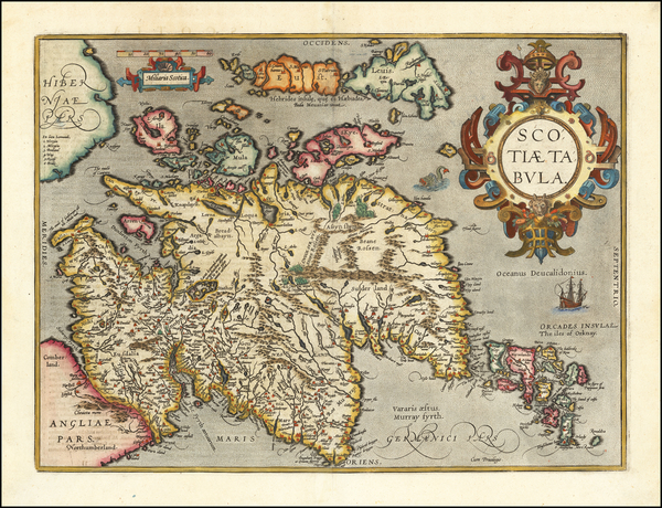 51-Scotland Map By Abraham Ortelius