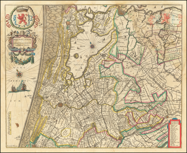 98-Netherlands Map By Willem Janszoon Blaeu