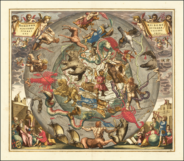 9-Eastern Hemisphere, Polar Maps and Celestial Maps Map By Andreas Cellarius