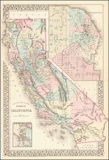 94-California Map By Samuel Augustus Mitchell Jr.