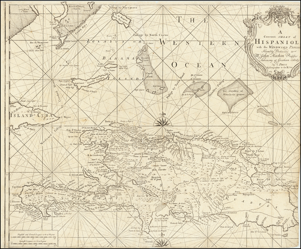 96-Caribbean, Hispaniola and Bahamas Map By Charles Price