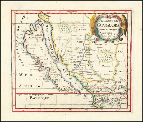 60-Southwest, Mexico, Baja California, California and California as an Island Map By Nicolas Sanso