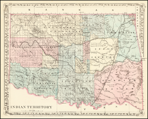 93-Oklahoma & Indian Territory Map By Samuel Augustus Mitchell Jr.