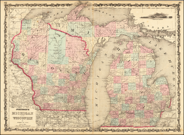 58-Michigan and Wisconsin Map By Alvin Jewett Johnson  &  Benjamin P Ward