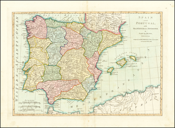 96-Spain, Portugal and Balearic Islands Map By Samuel Dunn
