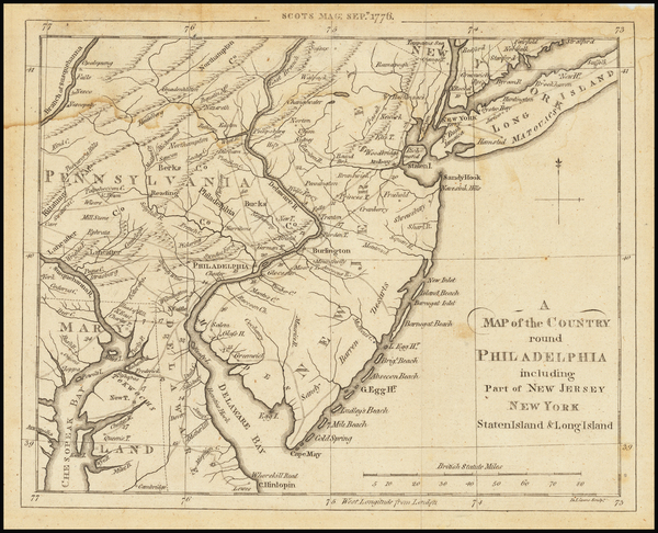 7-Mid-Atlantic, New Jersey and Pennsylvania Map By Gentleman's Magazine