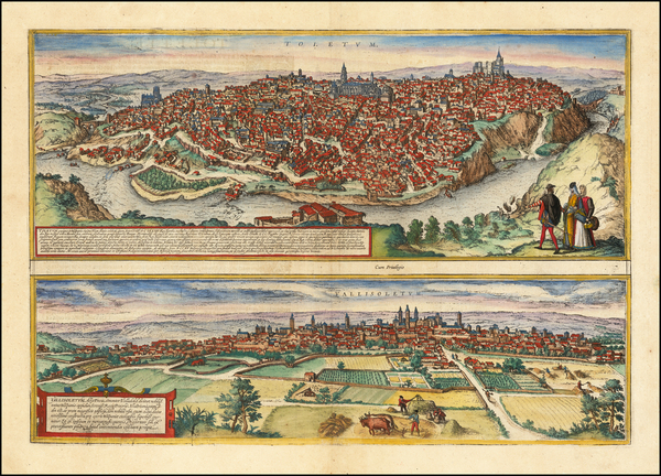 96-Spanish Cities Map By Georg Braun  &  Frans Hogenberg