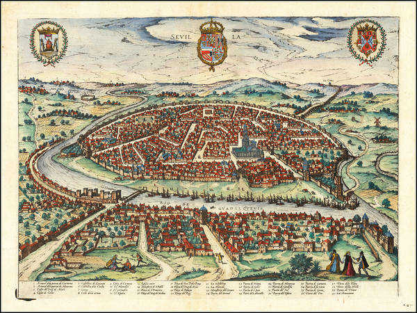 7-Spain Map By Georg Braun  &  Frans Hogenberg