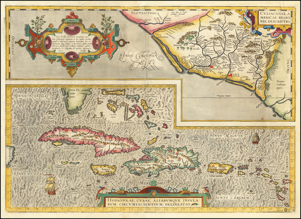 15-Southeast, Mexico and Caribbean Map By Abraham Ortelius
