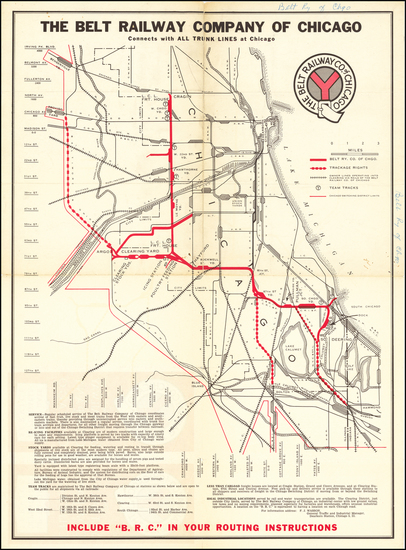 85-Chicago Map By Belt Railway Company of Chicago