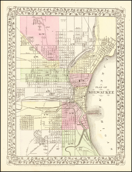 20-Wisconsin Map By Samuel Augustus Mitchell Jr.