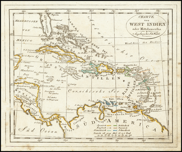19-Caribbean Map By Johann Walch