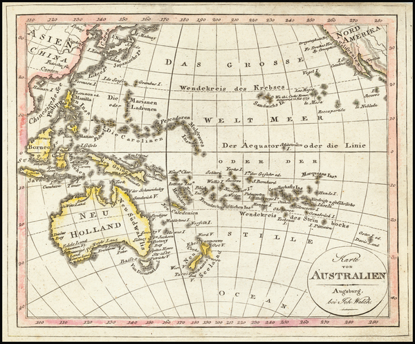 78-Pacific Ocean and Oceania Map By Johann Walch