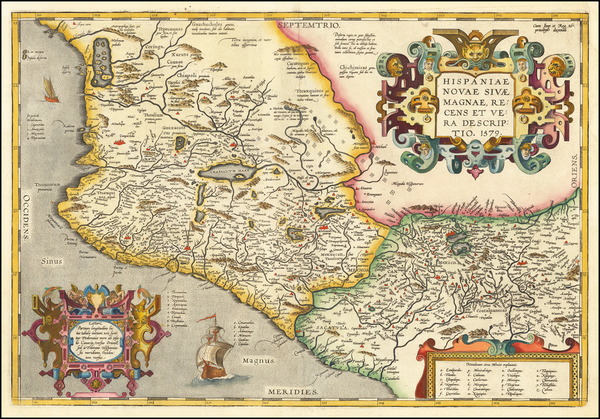 54-Mexico Map By Abraham Ortelius