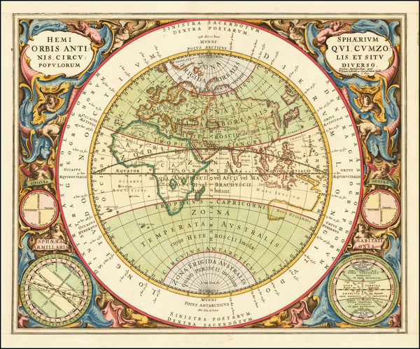33-Eastern Hemisphere, Indian Ocean and Celestial Maps Map By Andreas Cellarius