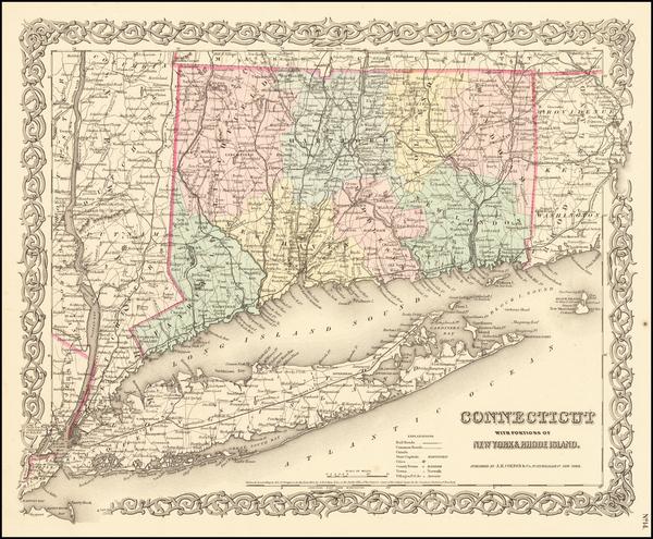 11-Connecticut Map By Joseph Hutchins Colton