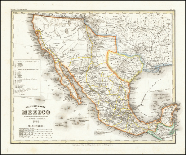 44-Texas, Southwest, Rocky Mountains, Mexico and California Map By Joseph Meyer / Carl Radefeld