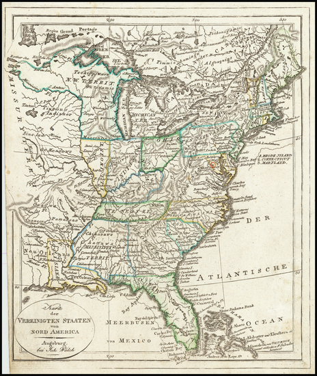 13-United States and South Map By Johann Walch