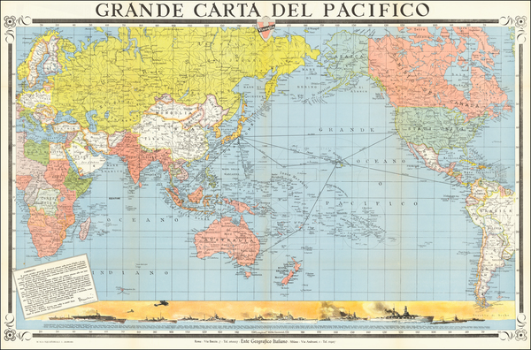 16-World, Pacific Ocean, Pacific and World War II Map By Ente Geografico Italiano