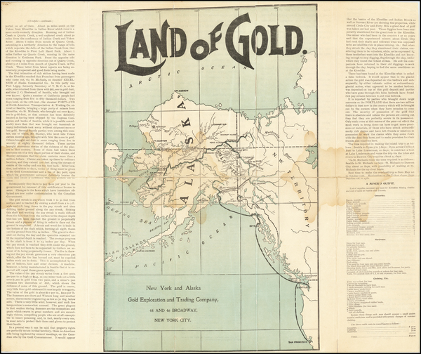93-Alaska Map By New York & Alaska Gold Exploration & Trading Co