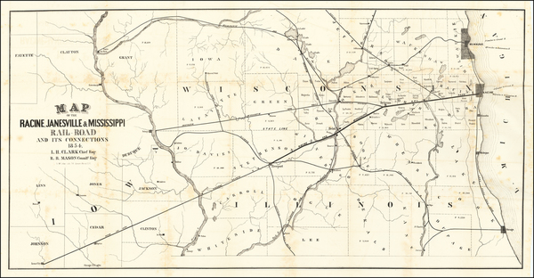 21-Midwest, Illinois, Wisconsin and Iowa Map By Racine, Janesville & Mississippi Railroad