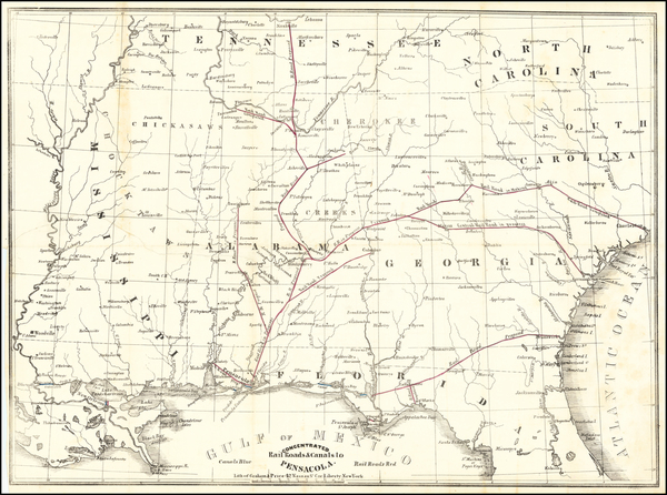 72-Florida, Alabama, Tennessee and Georgia Map By Alabama and Florida Railroad Company