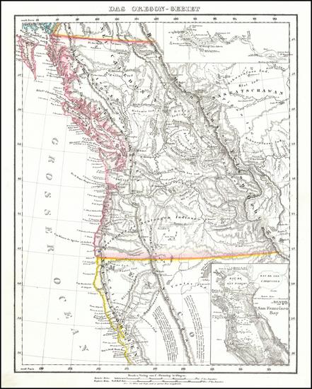 44-Idaho, Montana, Oregon, Washington and California Map By Carl Flemming