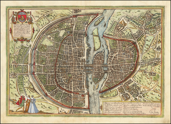 68-Paris Map By Georg Braun  &  Frans Hogenberg