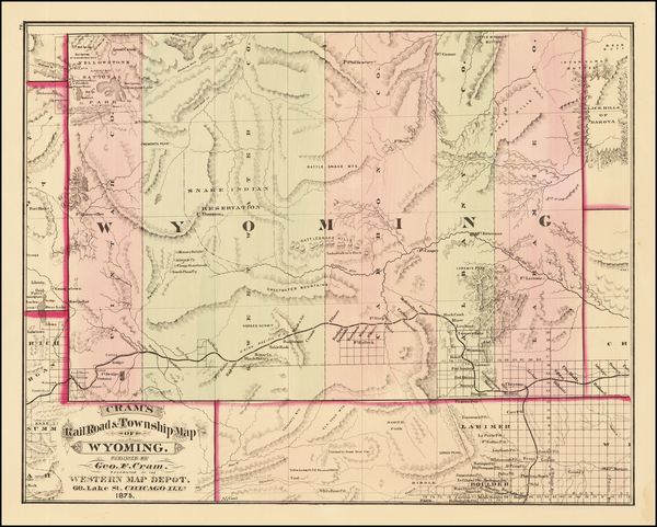 93-Wyoming Map By George F. Cram