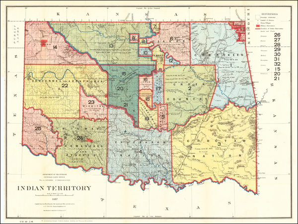1-Oklahoma & Indian Territory Map By U.S. General Land Office