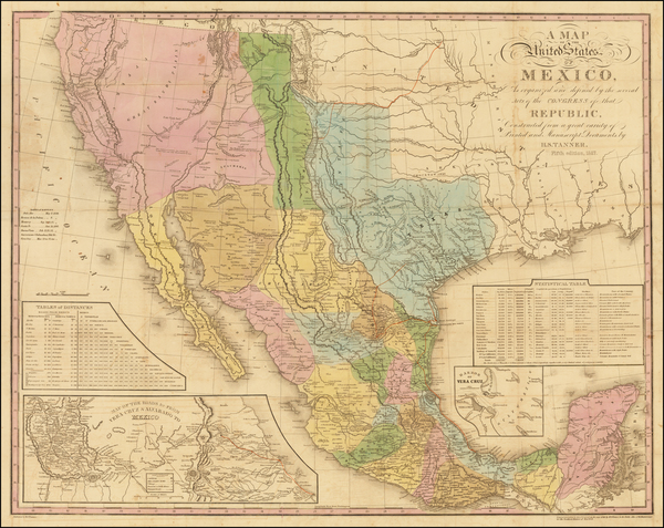 69-Texas, Plains, Southwest, Rocky Mountains, Mexico, Baja California and California Map By Henry