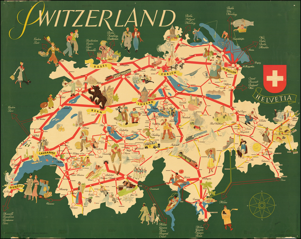 1-Switzerland and Pictorial Maps Map By Swiss Federal Railways
