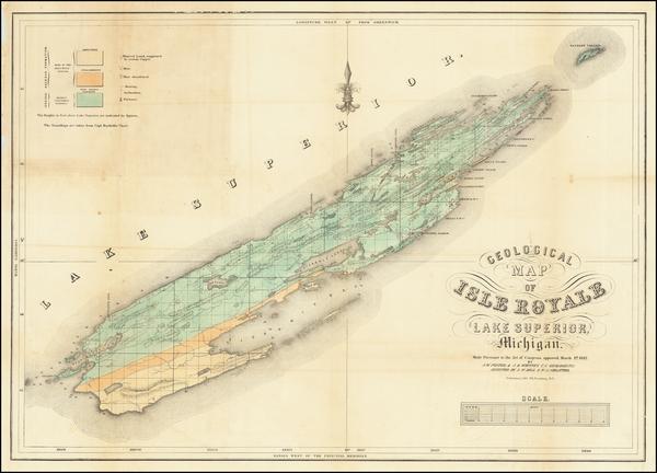 86-Michigan Map By Josiah Dwight Whitney  &  John Wells Foster
